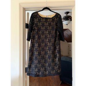 Black & Gold Lace Overlay Shift Dress